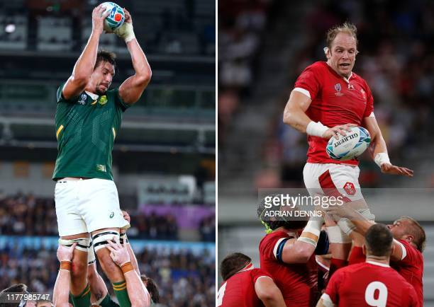 This combination photo created on October 25 2019 shows South Africa's lock Eben Etzebeth catching the ball in a line out during the Japan 2019 Rugby...