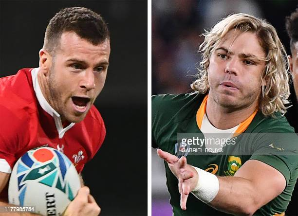 This combination photo created on October 25, 2019 shows Wales' scrum-half Gareth Davies during the Japan 2019 Rugby World Cup Pool D match between...