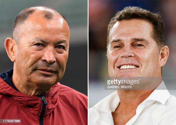 This combination photo created on October 29 2019 shows England's head coach Eddie Jones attending a captain's run training session for the Japan...