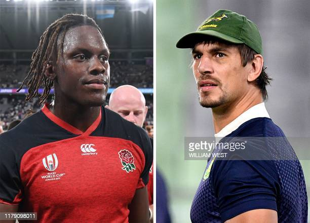 This combination photo created on October 31 2019 shows England's lock Maro Itoje after the Japan 2019 Rugby World Cup Pool C match between England...