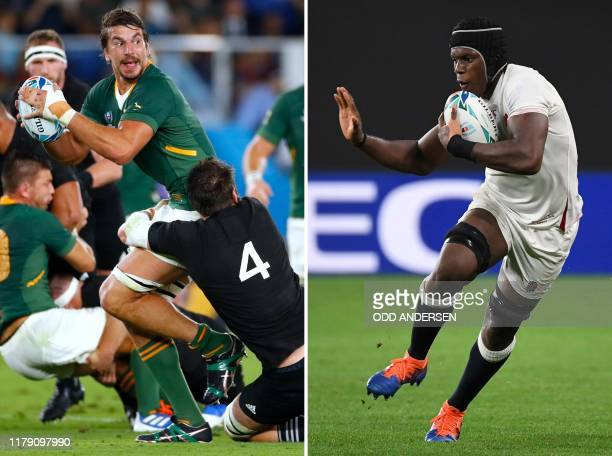 This combination photo created on October 31 2019 shows South Africa's lock Eben Etzebeth during the Japan 2019 Rugby World Cup Pool B match between...