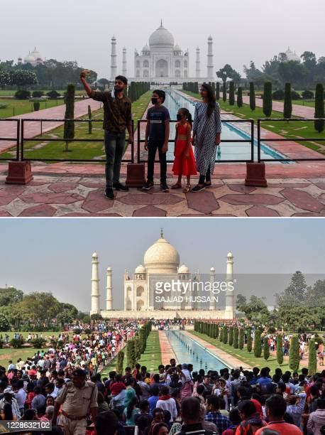 This combination photo created on September 21 shows tourists visiting the Taj Mahal on September 21, 2020 and a large crowd of tourists on October...