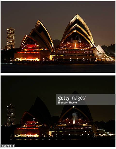 This combination photo shows the Sydney Opera House illuminated prior to Earth Hour and lighting turned off during Earth Hour on March 28 2009 in...