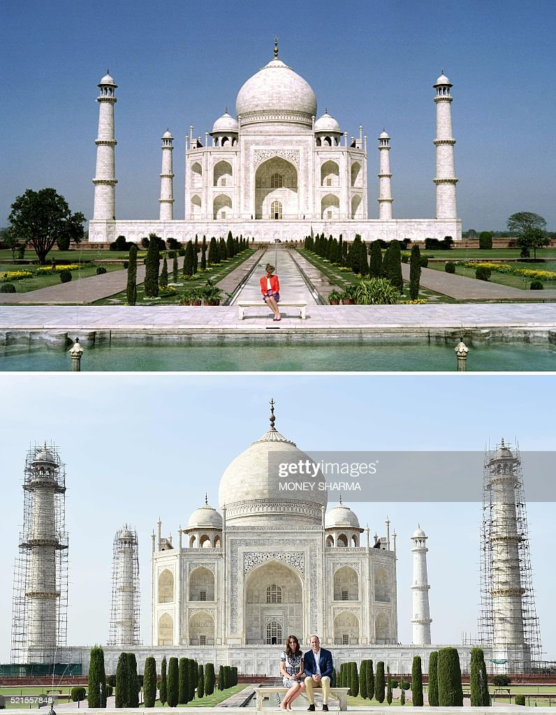 This combination photograph shows (TOP) Princess Diana of Wales as she poses at The Taj Mahal in Agra on February 11, 1992, and (BOTTOM) Britain's Prince William, Duke of Cambridge(R)and Catherine, Duchess of Cambridge as they pose during their visit to The Taj Mahal in Agra on April 16, 2016. Prince William and his wife Catherine arrived at the Taj Mahal, wrapping up their week-long trip to India and Bhutan with a visit that carries poignant echoes for Britain's royal family. / AFP / AFP AND POOL / Money SHARMA AND Douglas CURRAN