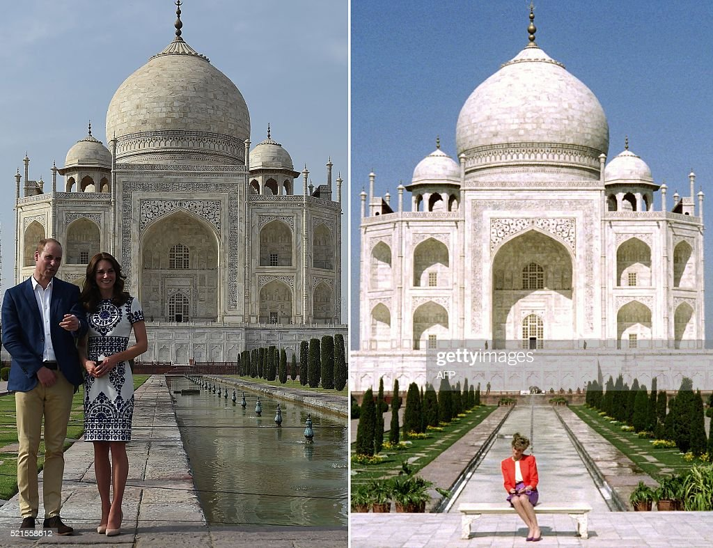 This combination photograph shows (RIGHT) Princess Diana of Wales as she poses at The Taj Mahal in Agra on February 11, 1992, and (LEFT) Britain's Prince William, Duke of Cambridge(L)and Catherine, Duchess of Cambridge as they pose during their visit to The Taj Mahal in Agra on April 16, 2016. Prince William and his wife Catherine arrived at the Taj Mahal, wrapping up their week-long trip to India and Bhutan with a visit that carries poignant echoes for Britain's royal family. / AFP / Douglas CURRAN AND Prakash SINGH