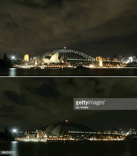 This combination photograph shows the Sydney Harbour Bridge and Sydney Opera House illuminated prior to Earth Hour and turned off during Earth Hour...