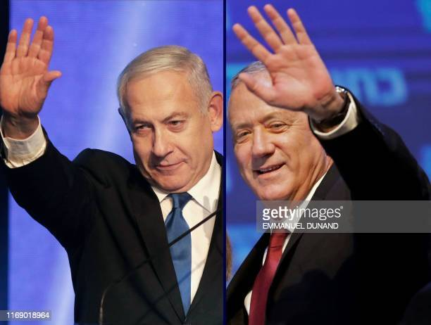 This combination picture created on September 18 2019 shows Benny Gantz leader and candidate of the Israel Resilience party that is part of the Blue...