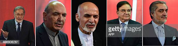 This combination picture of five photographs show Afghan presidential candidates Zalmai Rassoul Qayum Karzai Ashraf Ghani Abdul Rahim Wardak and...