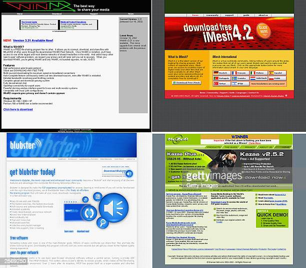This combination picture shows four screengrabs of popular file sharing services WinMX iMesh Blubster and KaZaa on October 7 2003 The internet...