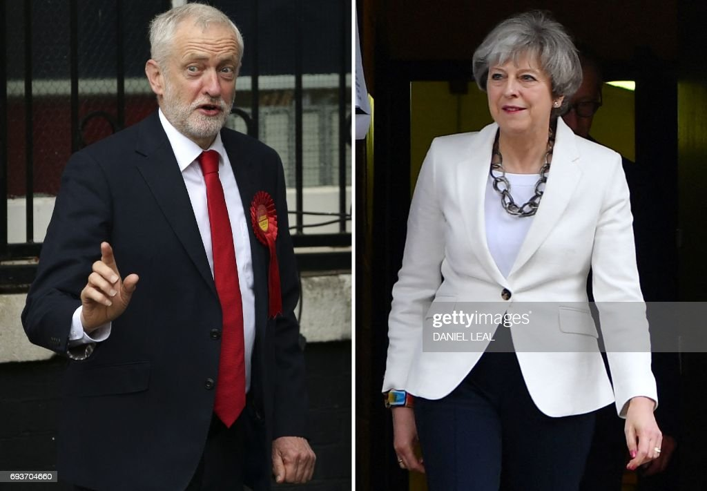 This combination picture shows opposition Labour party leader Jeremy Corbyn (L) voting in north London and British Prime Minister Theresa May voting in Maidenhead on June 8, 2017 during Polls opened in Britain today in an election Prime Minister Theresa May had expected to win easily but one that has proved increasingly hard to predict after a campaign shadowed by terrorism. / AFP PHOTO / Daniel LEAL