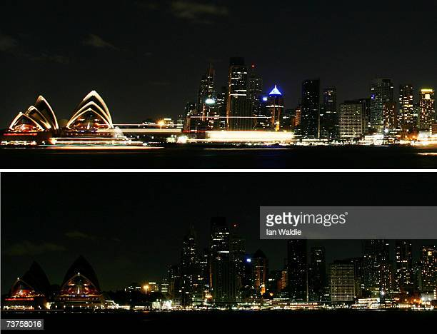 This combination picture shows Sydney Harbour before and during Earth Hour March 31, in Sydney, Australia. The entire city of Sydney, including...