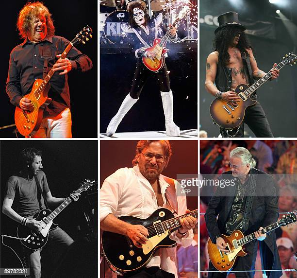 This combo created on August 14 2009 with AFP file photos shows Northern Irish guitarist Gary Moore at the 42nd Montreux Jazz Festival on July 7 2008...