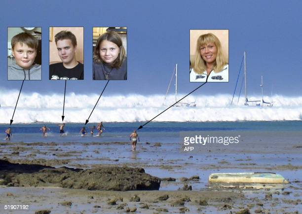 This combo image of portraits taken 01 January 2005 of Swedish nationals Filip Svaerd his brothers Anton and Viktor and their mother Karin as the...