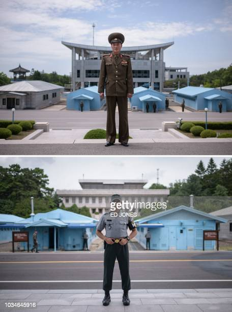 This combo image shows Korean People's Army soldier Lieutenant Kim posing for a portrait on the north side of the truce village of Panmunjom on June...