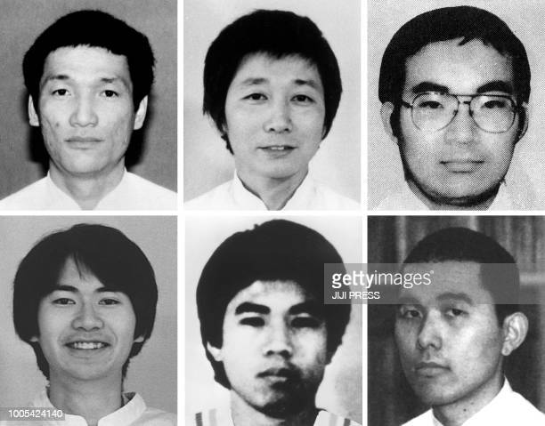 This combo of file photos received via Jiji Press and compiled on July 26 2018 shows former Aum Supreme Truth doomsday cult member Yasuo Hayashi...