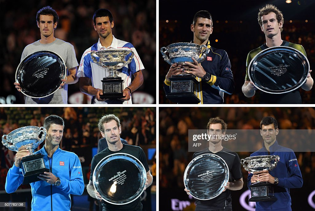 This combo of file photos shows Serbia's Novak Djokovic posing with the Norman Brookes Trophy in 2011 (top L), 2013 (top R), 2015 (bottom L) and 2016 (bottom R) after each of his men's singles title victories over Andy Murray of Britain, at the Australian Open tennis tournament in Melbourne. Djokovic beat Andy Murray for a fourth time on January 31, 2016 in straight sets to win his sixth Australian Open title overall.