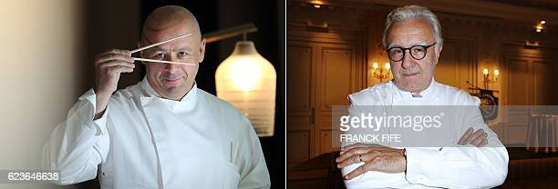 This combo of file pictures made on November 16 2016 shows French chef Thierry Marx posing at the Hotel Mandarin Oriental in Paris on June 24 2011...