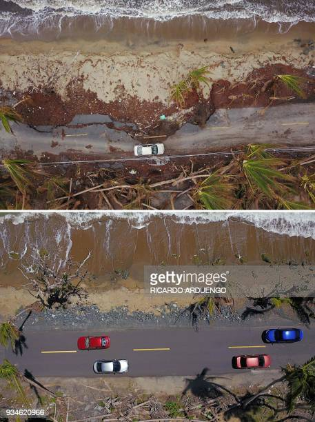 This combo of photos made on March 19 2018 shows A car drives on a damaged road in the aftermath of Hurricane Maria in Humacao Puerto Rico on October...