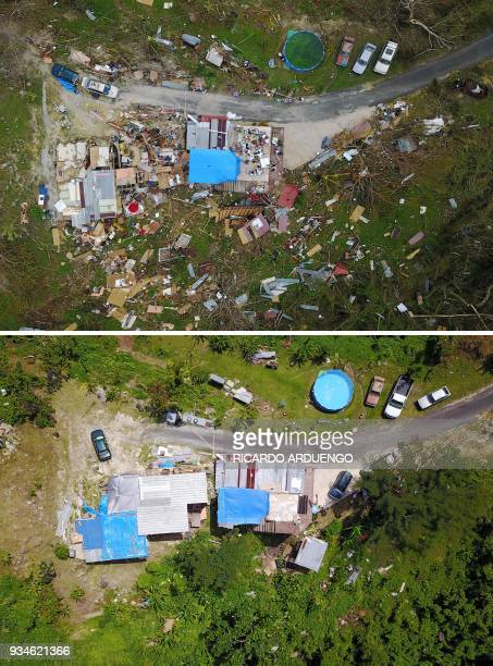 This combo of photos made on March 19 2018 shows a house destroyed by hurricane winds is seen in Corozal west of San Juan Puerto Rico on September 24...