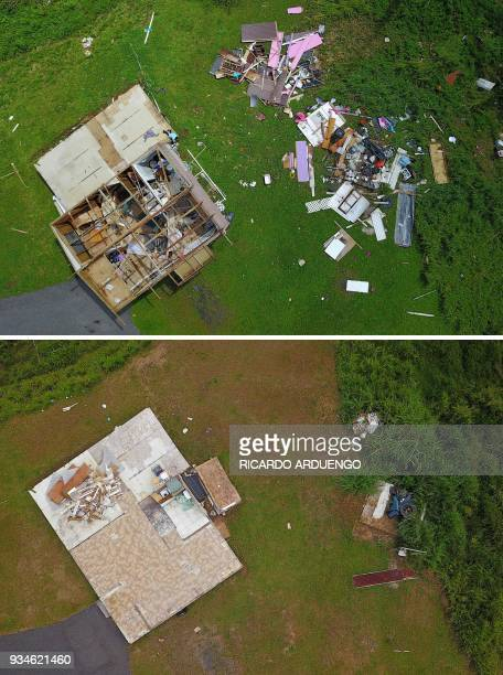 This combo of photos made on March 19 2018 shows a house destroyed by hurricane winds in Barranquitas southwest of San Juan Puerto Rico on September...