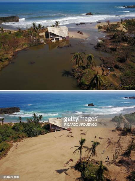 This combo of photos made on March 19 2018 shows a house that was washed away by heavy surf during the passing of Hurricane Maria is seen in Manati...
