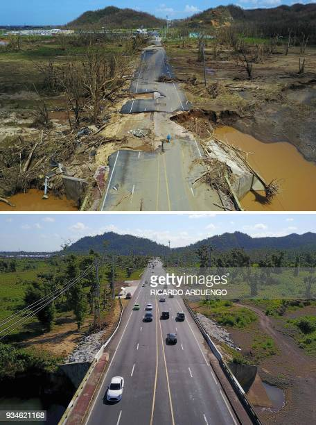 This combo of photos made on March 19, 2018 shows a man rides his bicycle through a damaged road in Toa Alta, west of San Juan, Puerto Rico, on...