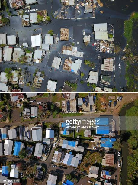 This combo of photos made on March 19 2018 shows an aerial view of the flooded neighbourhood of Juana Matos in the aftermath of Hurricane Maria in...