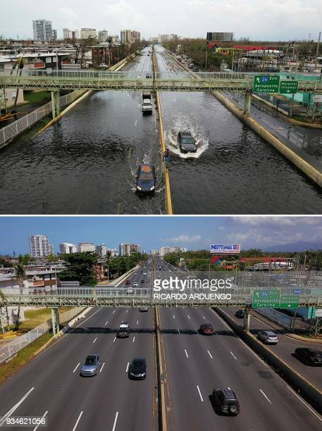 This combo of photos made on March 19 2018 shows cars driving through a flooded road in the aftermath of Hurricane Maria in San Juan Puerto Rico on...