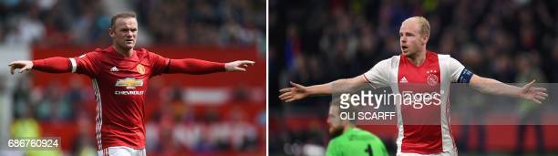 This combo of photos made on May 22 2017 shows Manchester United's English striker Wayne Rooney reacting during the English Premier League football...