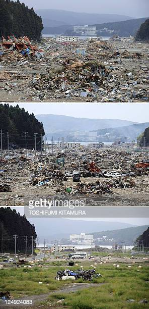 This combo of photos shows the tsunamidevastated town of Minamisanriku Miyagi prefecture on March 22 2011 shortly after the March 11 disaster the...