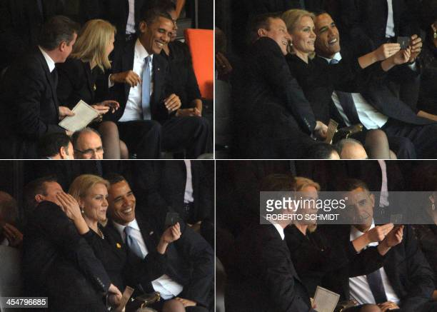 This combo of pictures shows US President Barack Obama and British Prime Minister David Cameron posing for a selfie photo with Denmark's Prime...