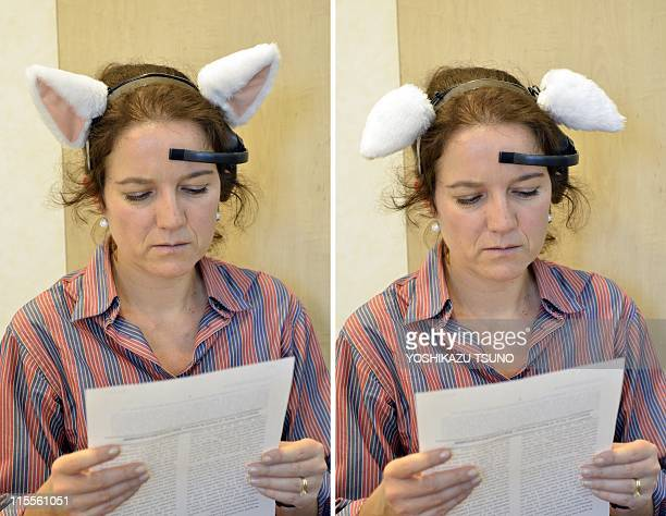 This combo of pictures taken on May 24 2011 shows an AFP journalist wearing a headset with cat ears called 'Necomimi' with ears perked up and laying...