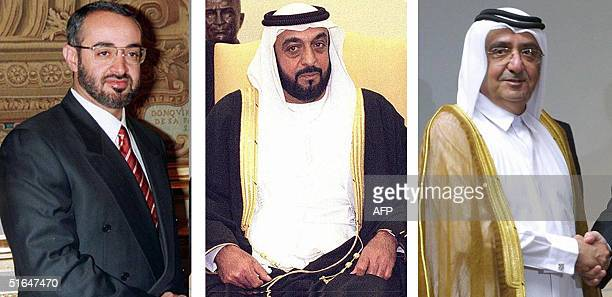 This combo of recent portraits shows from L to R the United Arab Emirates' Vice President Sheikh Maktum bin Rashed alMaktum Sheikh Khalifa bin Zayed...