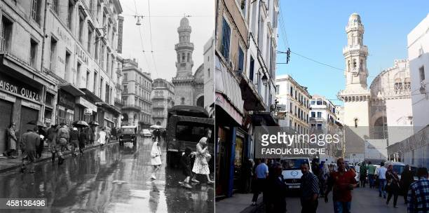 This combo of two photos shows on soldiers standing guard in a street leading to the Ketchaoua Mosque on December 11 1960 and people walking down a...
