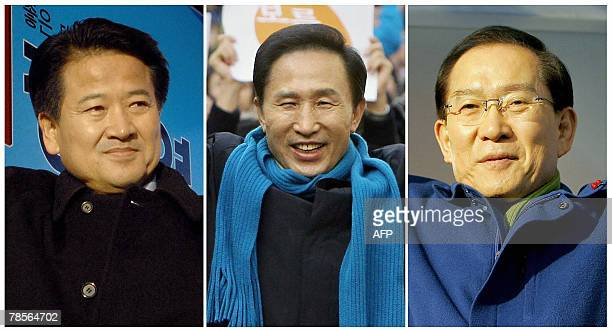This combo photo shows recent file photos of South Korea's three top presidential candidates Chung DongYoung of the liberal United New Democratic...