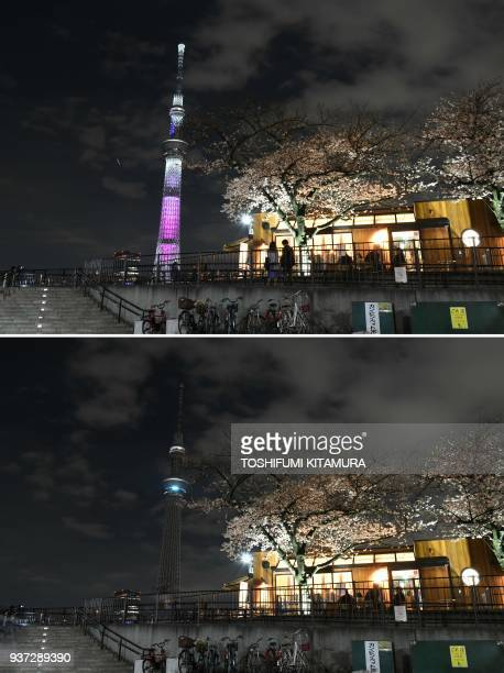 TOPSHOT This combo photo shows Tokyo's landmark Skytree before and after being plunged into darkness for the Earth Hour environmental campaign in...