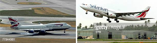 This combo picture made 16 October 2007 shows files pictures of a British Airways 747 aircraft landing at Heathrow Airport in London dated 10 August...