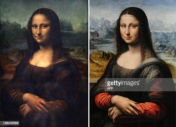 This combo picture made on February 1 2012 shows a picture taken at Paris Louvre Museum on April 05 2005 of the Portrait of Mona Lisa painted by...