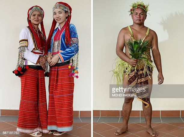 This combo picture of photos taken on August 6 2016 shows portraits of Thai women from the indigenous Akha community and a Malaysian man from the...