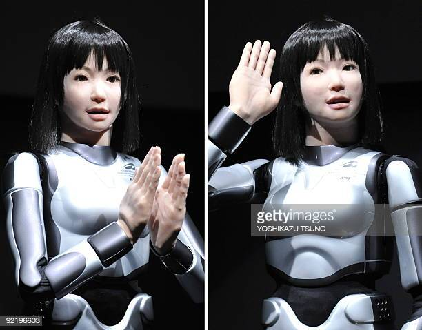 This combo picture shows a humanoid robot HRP4C developed by Japan's Advanced Industrial Science and Technology showing her skills during the Digital...