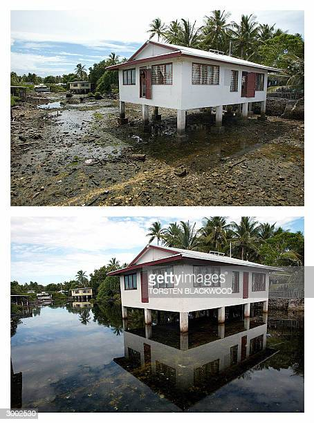 """This combo picture shows at top a Tuvaluan house perched over an empty """"borrow pit"""" dug by US forces during World War II in order to build the..."""