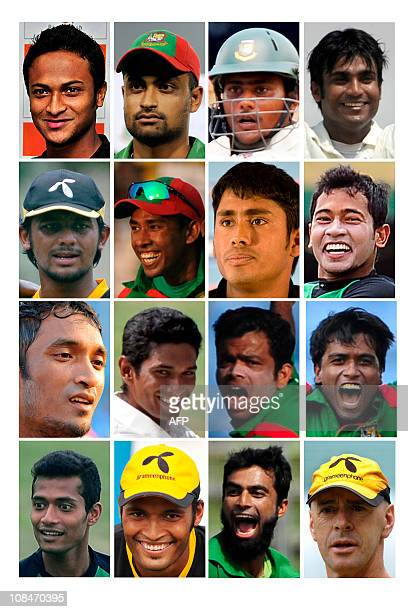 This combo picture shows Bangladesh's 15man squad for the ICC Cricket World Cup 2011 which runs from February 19 2011 to April 2 2011 in India...