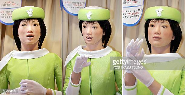 This combo picture shows Japanese robot venture Kokoro's humanoid robot 'Actroid' able to recognize 40000 phrases in four languages Japanese Korean...
