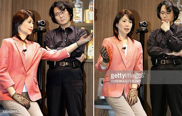 This combo picture shows Japan's Osaka University professor Hiroshi Ishiguro checks a humanoid robot 'Actroid Repliee' that looks exactly like a...