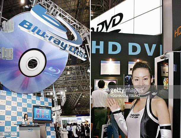 This combo picture shows large booths for the promotion of the next generation DVDs Bluray Disk Association headed by Sony and Toshiba's HD DVD...