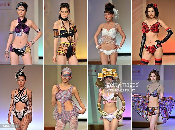 This combo picture shows models displaying underwear designed by students of Japan's Bunka Fashion College during a lingerie design competition...
