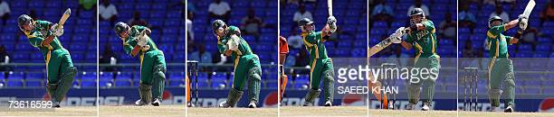 This combo picture shows South African cricketer Herschelle Gibbs hitting six sixes in an over during a Group A match of the ICC World Cup 2007...
