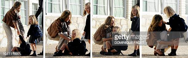 This combo picture shows Spain's Princess Sofia falling next to her mother Princess Letizia and her sister Leonor as they arrive for their first day...