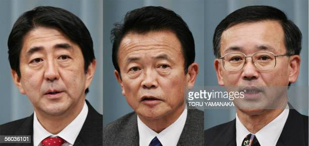 This combo picture shows three potential successors to Prime Minister Junichiro Koizumi new Chief Cabinet Secretary Shinzo Abe new Foreign Minister...
