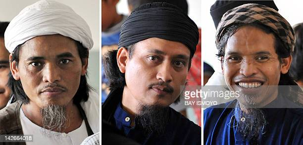 This combo picture taken on March 26 2008 shows convicted Bali bombers Amrozi Imam Samudra alias Abdul Aziz and Ali Ghufron alias Mukhlas at Batu...